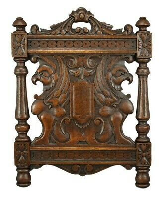 Architectural 19th.C French Carved Oak Wood Wall Panel of Griffin Chimera 3