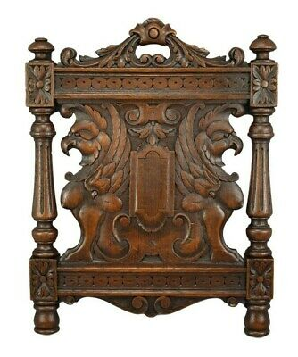 Antique French Hand Carved Oak Wood Griffin Sphinx Chimera Wall Panel