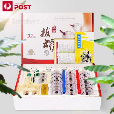32 Cups Set Vacuum Cupping Set Massage Acupuncture Suction Massager Pain Relief
