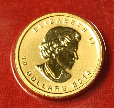 2014 CANADIAN GOLD MAPLE LEAF 1/4 oz .999% BU GREAT COLLECTOR COIN GIFT