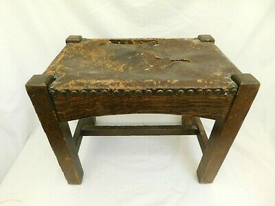 Arts Crafts Antique Mission Style Oak Wood Leather Stool Bench Copper Rivets