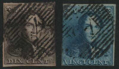 BELGIUM: 1849 Sg 1-2 'Epaulettes' 10c, 20c 3 Margin Fine Used - Cat £170 (22473)