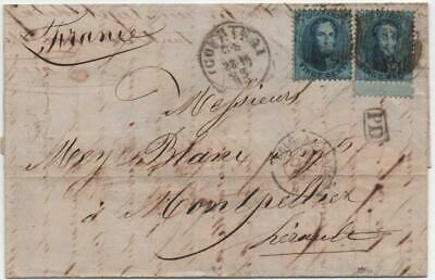 BELGIUM: 1863 20c Blue on Entire to France with Multiple Cancels / Seal (22402)