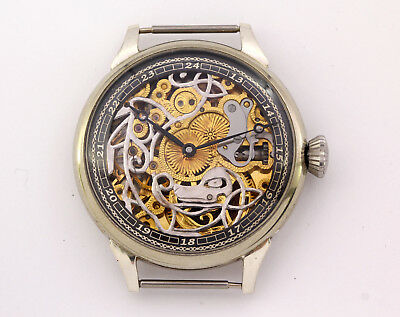 1930's antique Omega 40.6L T2 chronometer marriage skeleton wristwatch engraving