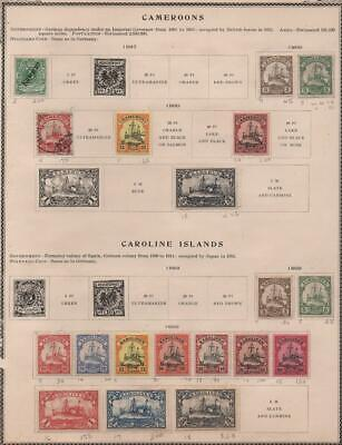CAMEROON/CAROLINE ISL: 1897-1900 - Ex-Old Time Collection - Album Page (21889)