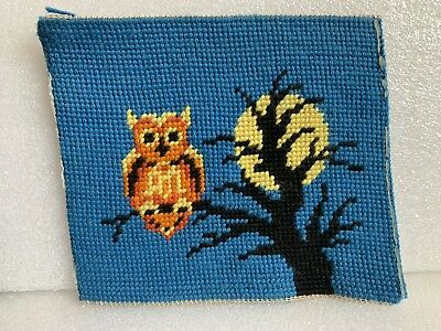 "Vintage Needlepoint 7"" x 6"" Full Moon Night Owl Spooky Tree No Frame Preowned"