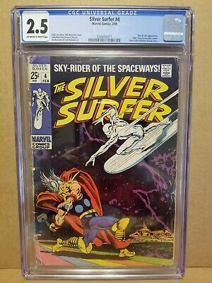 Silver Surfer #4 Cgc 2.5 (Gd+) Classic Thor Vs Silver Surfer Cover & Story 1969