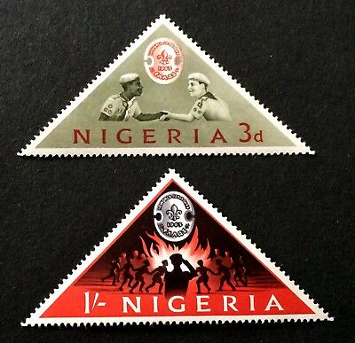 2 top mint hinged triangle stamps 1963 Nigeria - World Scout Jamboree