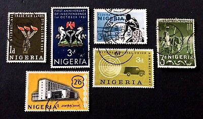 6 old used stamps Nigeria