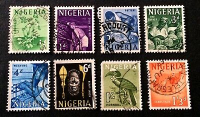 8 old used stamps 1961 Nigeria