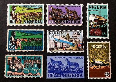 8 old used stamps Nigeria