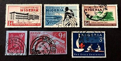 6 old used stamps Nigeria 1960