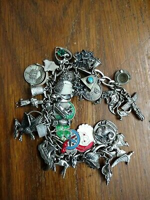 Vintage Sterling Silver Charm Bracelet Loaded with 35 Charms Travel ect.
