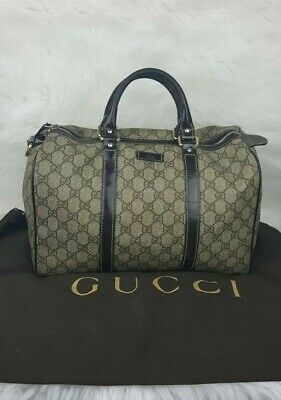 e47d6387a8a GUCCI JOY BOSTON GG Monogram Coated Canvas Leather Bag Beige Brown ...