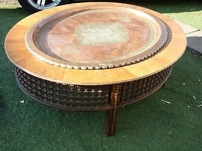 Antique Indian Asian Large Oval Coffee Occasional Low Table