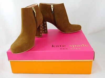 Kate Spade New York Womens Heel Bootie Shoes Cirra Tobacco Kid Suede Sz 6 M NEW