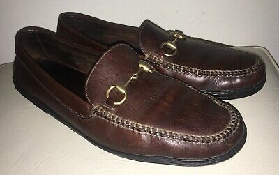 GUCCI Men's Brown Leather Gold Horsebit Driving Loafer Moccasin Shoes US 13