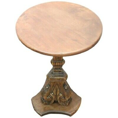 19th Century Italian antique Carved Walnut Round Side Table or Pedestal Table