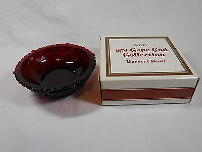 Avon 1876 Cape Cod Ruby Red Glass DESSERT BOWL, w/ Original Box