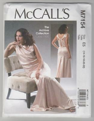 McCall's Sewing Pattern M7154 Miss Retro Vintage 1930's Maxi Evening Dress 14-22