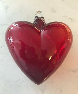 Red Mexican handcrafted hand blown glass heart