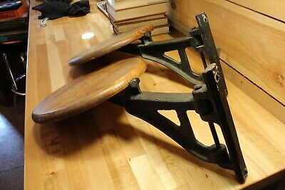 Vintage Cast Iron Swing Stool Seat Drafting Workbench Chair Antique1920s PAIR