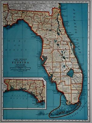 L@@K! Vintage 1940 World Atlas Colored Maps of Florida FL  & Connecticut CT OLD