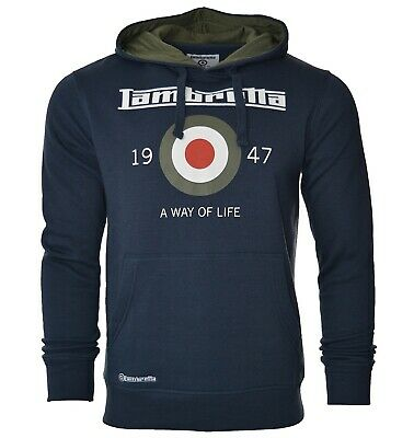 LAMBRETTA mens long sleeve hoodie hooded top sweatshirt casual jumper uk NAVY