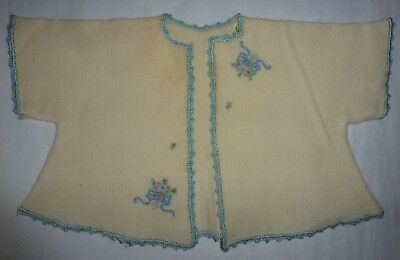 Vintage Baby Sweater Bunting Embroidered Crochet Edging Trim Handmade