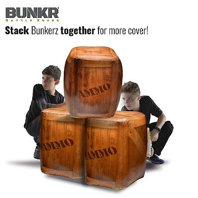 4 PACK Bunkr Battle Zones Inflatable Wooden Crate Bunkers Nerf Laser Tag Airsoft