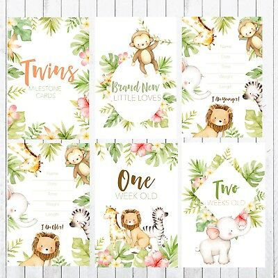 Twins Milestone Cards, 4x6 Photo Prop, 36 cards, Safari, Jungle Animals