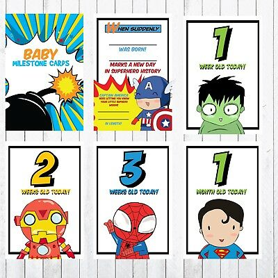 Baby Milestone Cards, 4x6 Photo Prop, 27 cards, Superhero