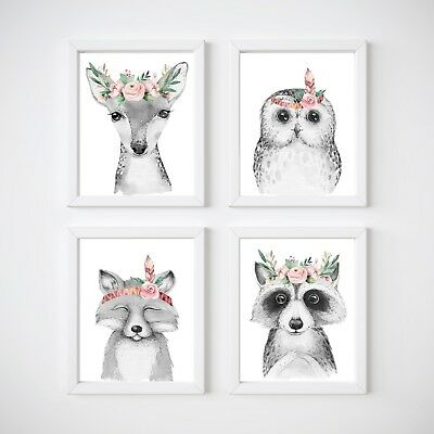 Woodland Animals Nursery Wall Decor Prints, Deer, Fox, Rabbit, Raccoon