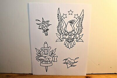 "Classic Designs Tattoo Flash 8.5"" X 11"" Eagle Dagger's and a Heart"