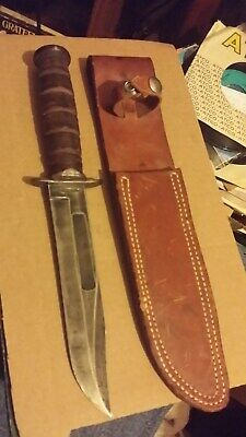 Original US WWII USN Mark 2 Fighting Knife Camillus with Leather Scabbard