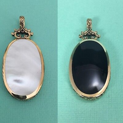 Gorgeous Antique Style Double Sided Pendant Mother of Pearl & Onyx Ornate Edge