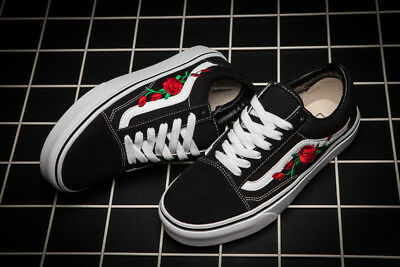 1f624e530a3 New couples Custom Vans Old Skool Skateboarding Red Rose Embroidery Patch