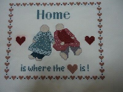 Home is where the Heart is. Completed cross stitch.