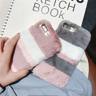 ! Stylish Warm Soft Faux Furry Fur Diamond Phone Case Cover For iPhone XS MAX XR