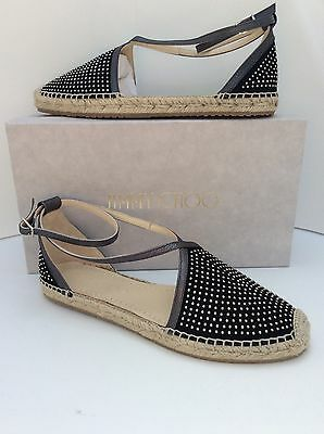 7eac0e229b4 Jimmy Choo Donna Micro Studded Black Suede Espadrille Flat Shoes Sz 38  8