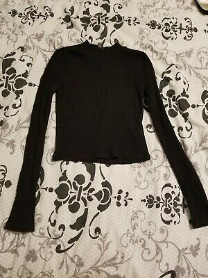 7a58db7154346f WOMENS FOREVER 21 top Long Sleeve Black Ribbed Crop Top small ...