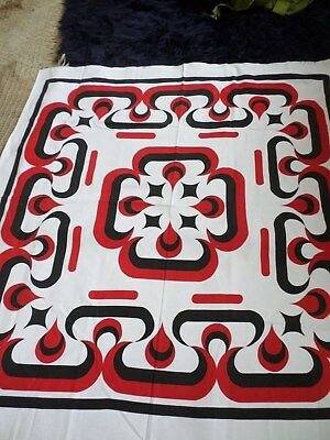 Retro Vintage Red Black And White Geometric Cotton Square Tablecloth NEW..