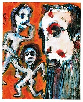 NAUGHTY CHILDREN abstract/folk/outsider? mixed media painting J.Swinton Canadian