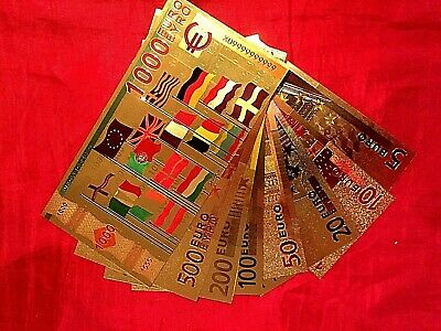 8 Early  Euro In 24K Gold Colour Banknotes  5 10 20 50 100 200 500 Bank Note
