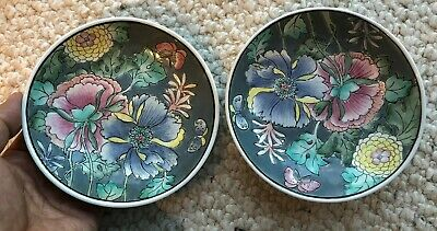Pair of Old China Chinese Famille Rose Porcelain Plates with Flowers