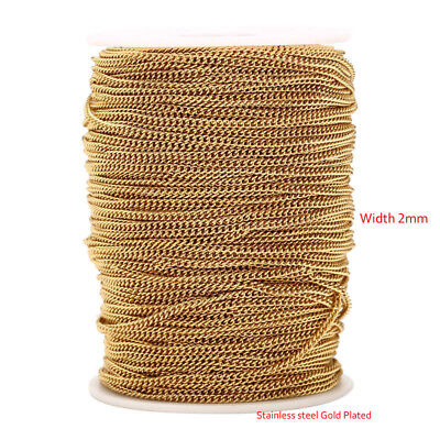 2MM Gold tone Stainless Steel Bulk Necklace rolo Link Chains for Jewelry Making