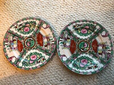 Pair of China Chinese Famille Rose Porcelain Plates with People, Houses, Flowers