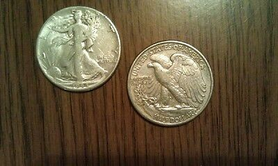 2 Walking Liberty Half Dollars 90% Silver Coins $1.00 Face Value