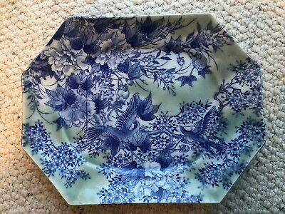 Large China Chinese Green and Blue Porcelain Plate with Birds and Flowers