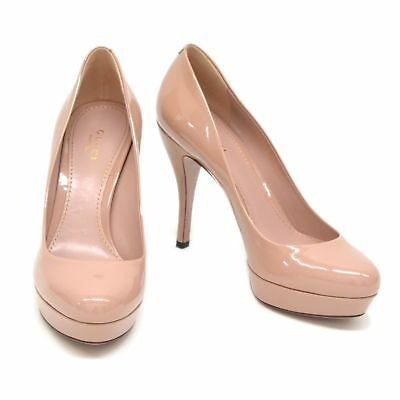 787614a4754 Authentic Gucci Patent Leather Heels Shoes Pumps Women 37 Pink Beige Italy